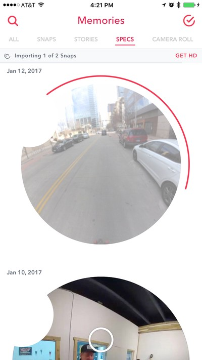 Downloading Spectacles Snaps into Snapchat