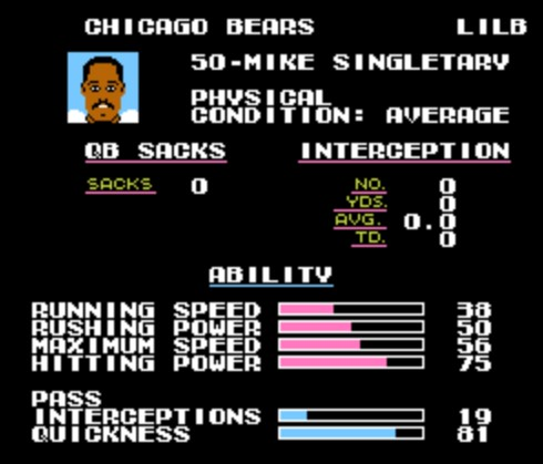 Image result for mike singletary tecmo super bowl