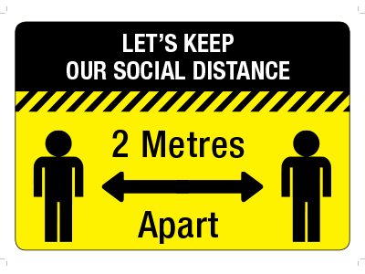 A black and yellow safety sticker showing 2 stick figures standing 2 metres apart