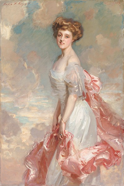 Painting of Mathilde in a flowing white dress with pink sash against a backdrop of pink clouds.