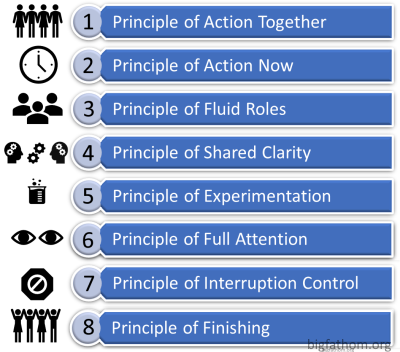 Eight principles: act together, act now, fluid roles, shared clarity, experimentation, full attn, interruption contrl, finish