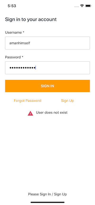 User Authentication with Amplify in a React Native and Expo app