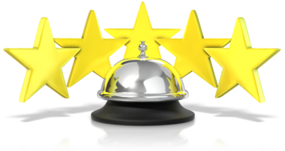 5 stars behind a bell signifying customer service