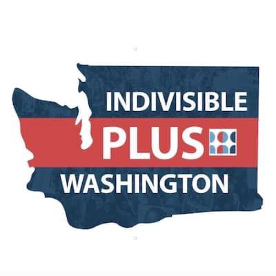 the state of Washington, in blue and red, with the words Indivisible Plus Washington and a small Indivisible logo