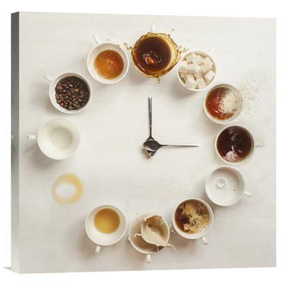 A clock with different coffees at each hour
