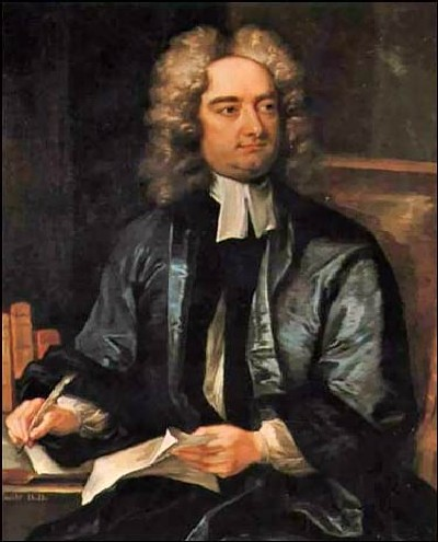 A portrait of Jonathan Swift seated and writing with a feather.