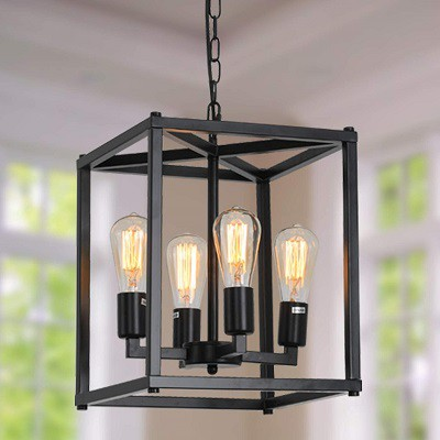 Lanhall 4-Light Farmhouse Chandelier Fixture Rustic Industrial Pendant Lighting Adjustable Height Metal Cage E26 Hanging Lights for Kitchen Island, Dining Room, Living Room, Bedroom, Foyer, Entry