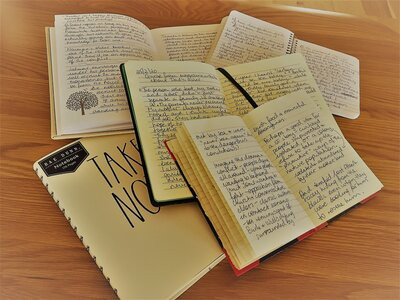 A display of notebooks