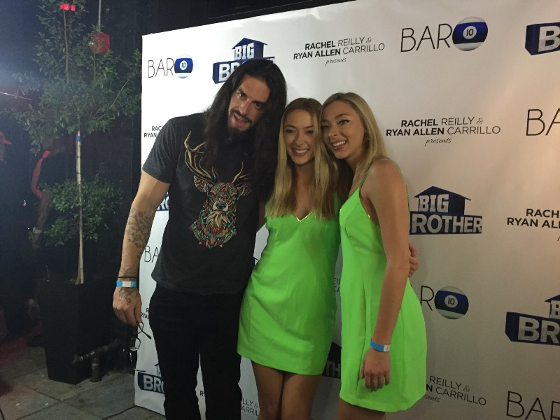 "Austin Matelson (left), ""Big Brother 17"" houseguest, with BB17 runner-up Liz Nolan (center) and BB17 houseguest Julia Nolan (left) at the season wrap party (Neon Tommy/Dustin Sloane)."