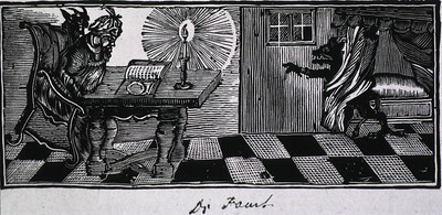 Showing Faust at table, open book, candle, Devil entering door.