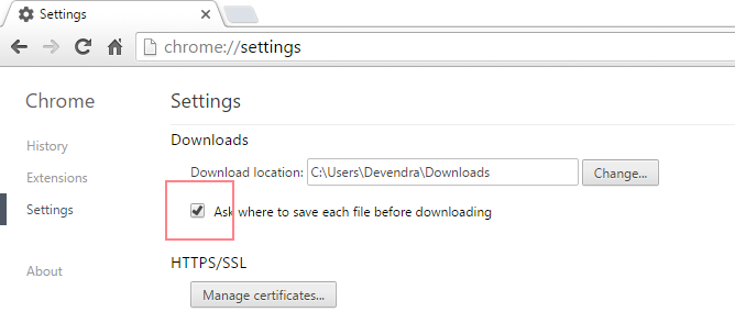 how to change chrome temporary internet file location