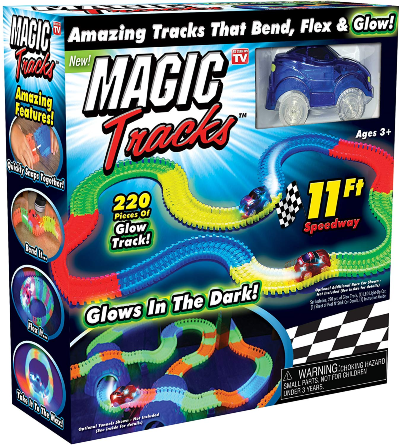 Magic Tracks Mega Set with 2 LED Race Car and 18 ft glow in the dark track