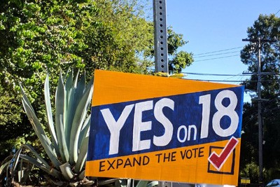 Yes on Prop 18 sign
