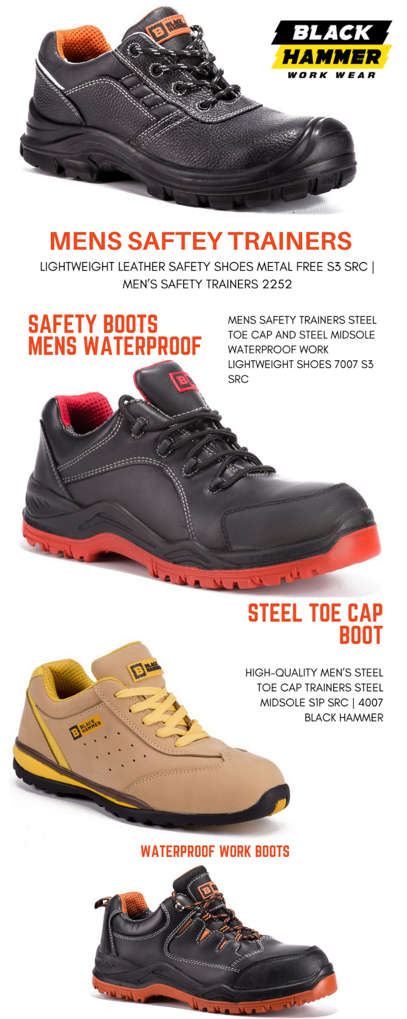 Mens Safety Trainers. Black Hammer are