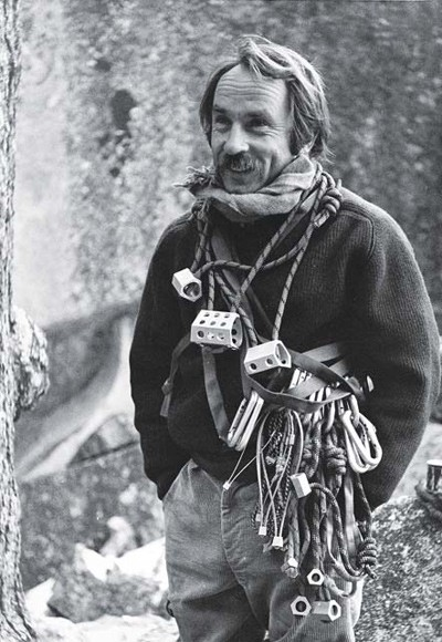 Yvon Chouinard with equipment for rock climbing, including Hexentrics. Photo by Tom Frost.