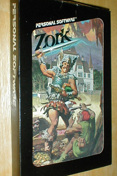 Video game packaging made by Personal Software Inc. for Zork with a large graphic in front of an adventurer fighting a goblin