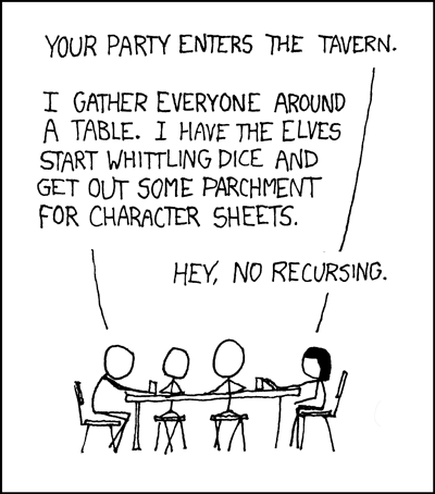 4 stick figures sit around a table. The first says your party enters the tavern. The second responds I gather everyone around a table. I have the elves start whittling dice and get out some parchment for character sheets. The first interrupts hey no recursing.