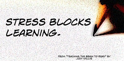 "The quote ""Stress blocks learning"" with a pencil next to it."