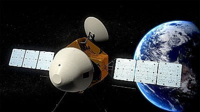 A spacecraft with a pointed nose and a pair of solar panels races away from Earth.