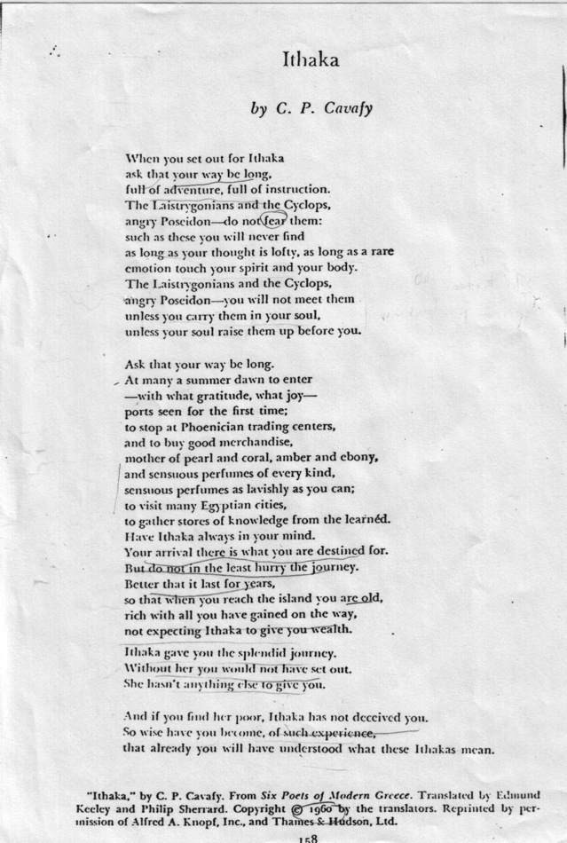Ithaca poem C.P. Cavafy Never Give Up Medium