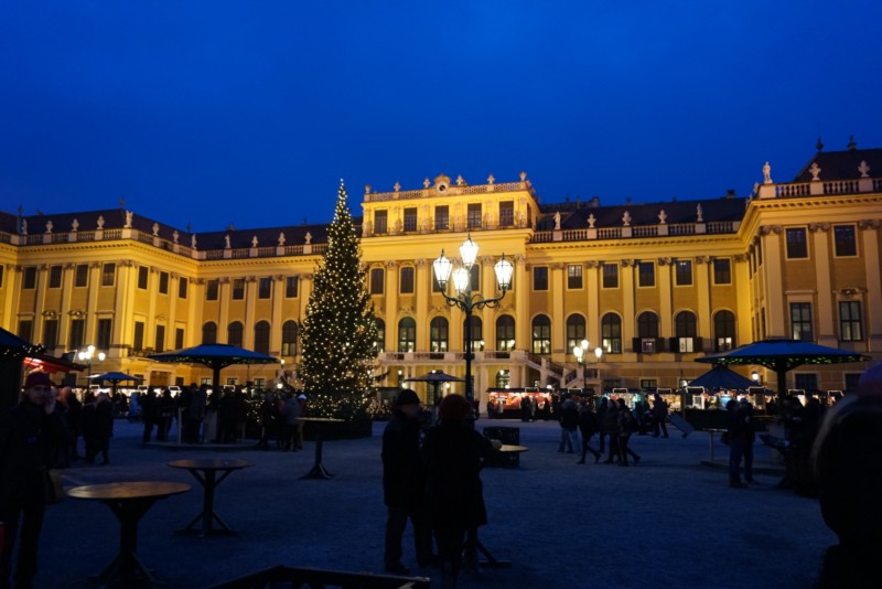 Christmas market held in front of Schonbrunn palace