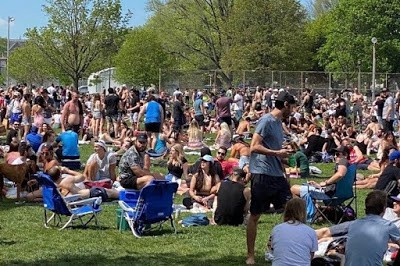 Very crowded park on a nice day.