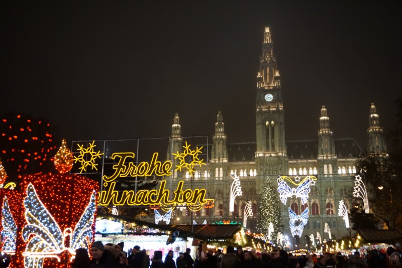 Beautifully decorated town hall which was turned into the largest Christmas market in the city