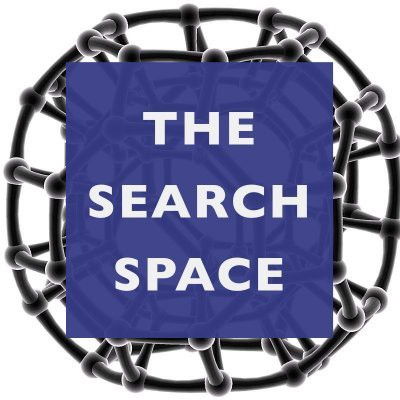 """The words """"The Search Space"""" over a 3d model of a complicated spherical structure."""
