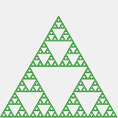 A drawing of the Serpinski triangle.