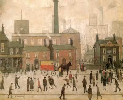 Painting of Coming Home From The Mill by L.S. Lowry