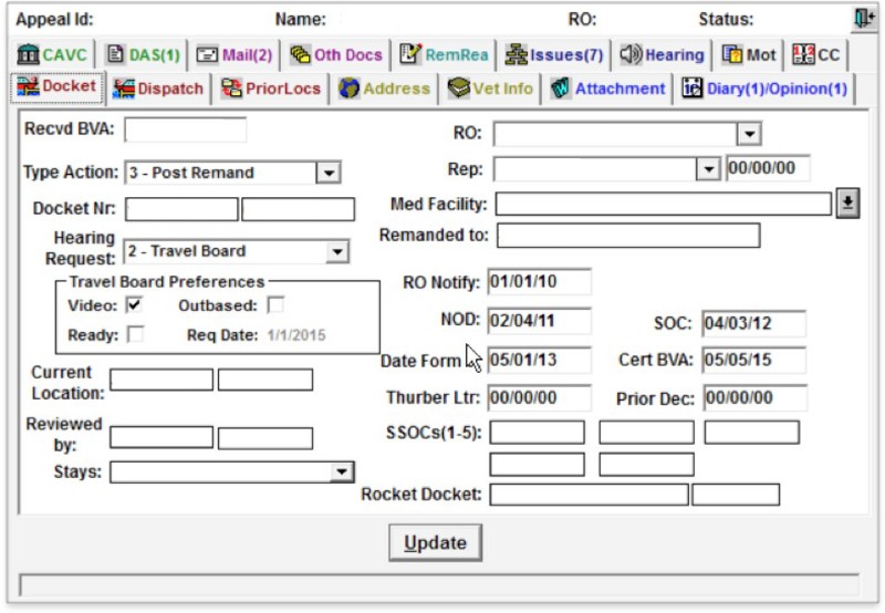 A picture of the current tool used to track and process appeals.