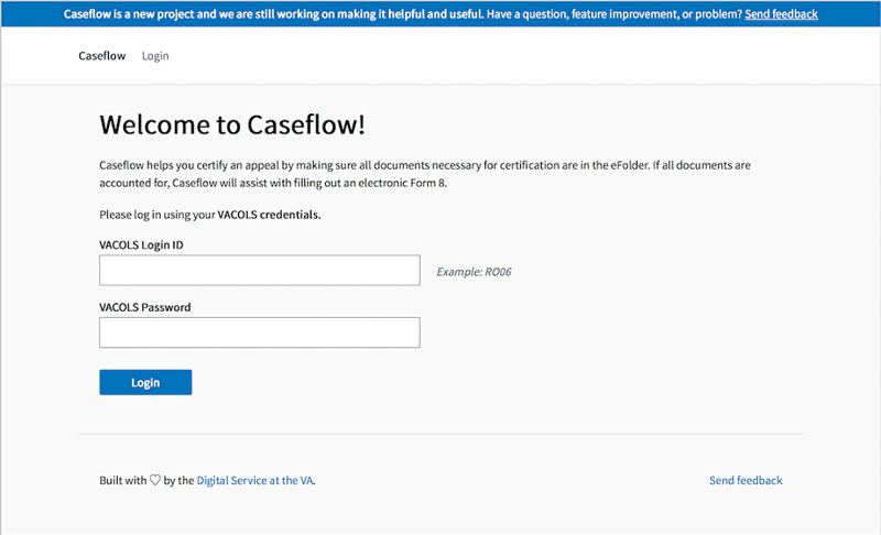 An image of the Caseflow Certification home screen