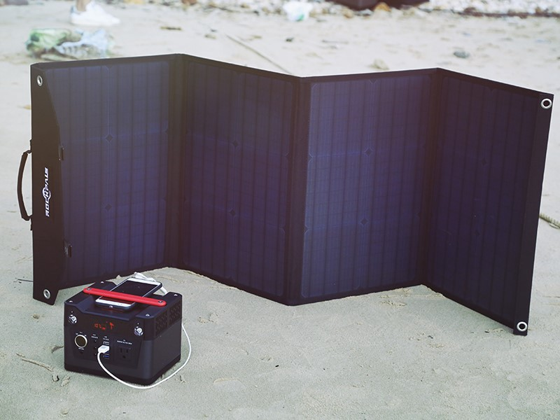 Rockpals 300W Power Station Paired with 100W Solar Panel