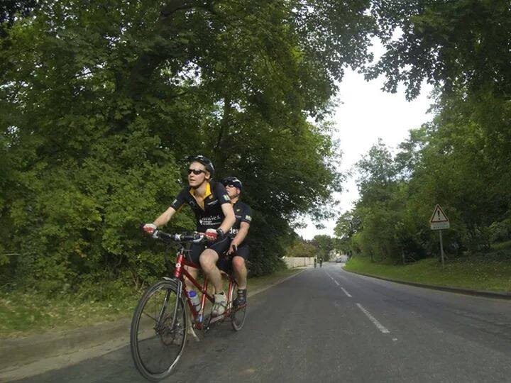 Chris and Michael on tandem techbikers 2014