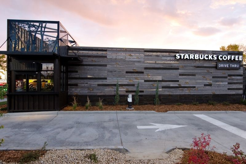 Starbucks Recycled Shipping Container Coffee Shop in Colorado
