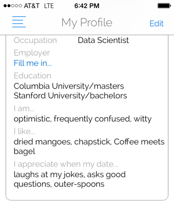 Sarcastic dating profile examples