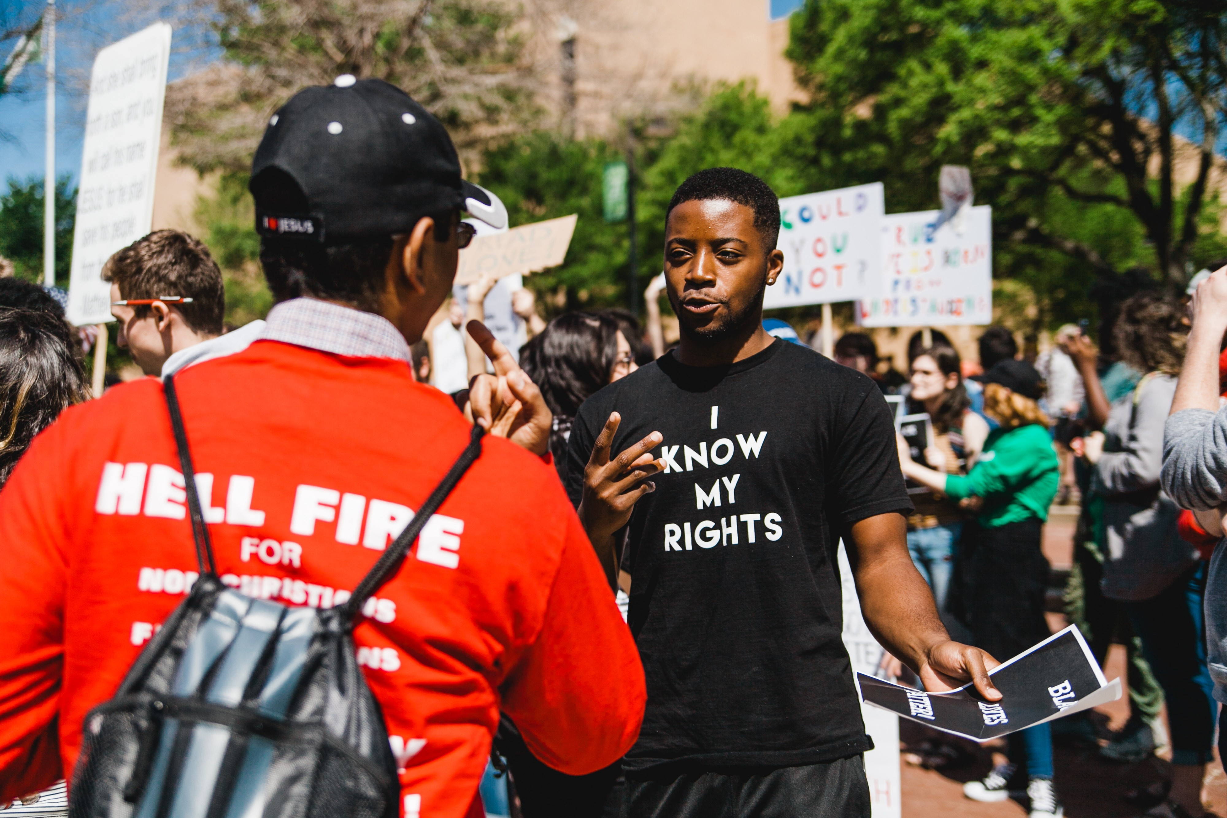 """Boy wearing """"I know my rights"""" shirt"""