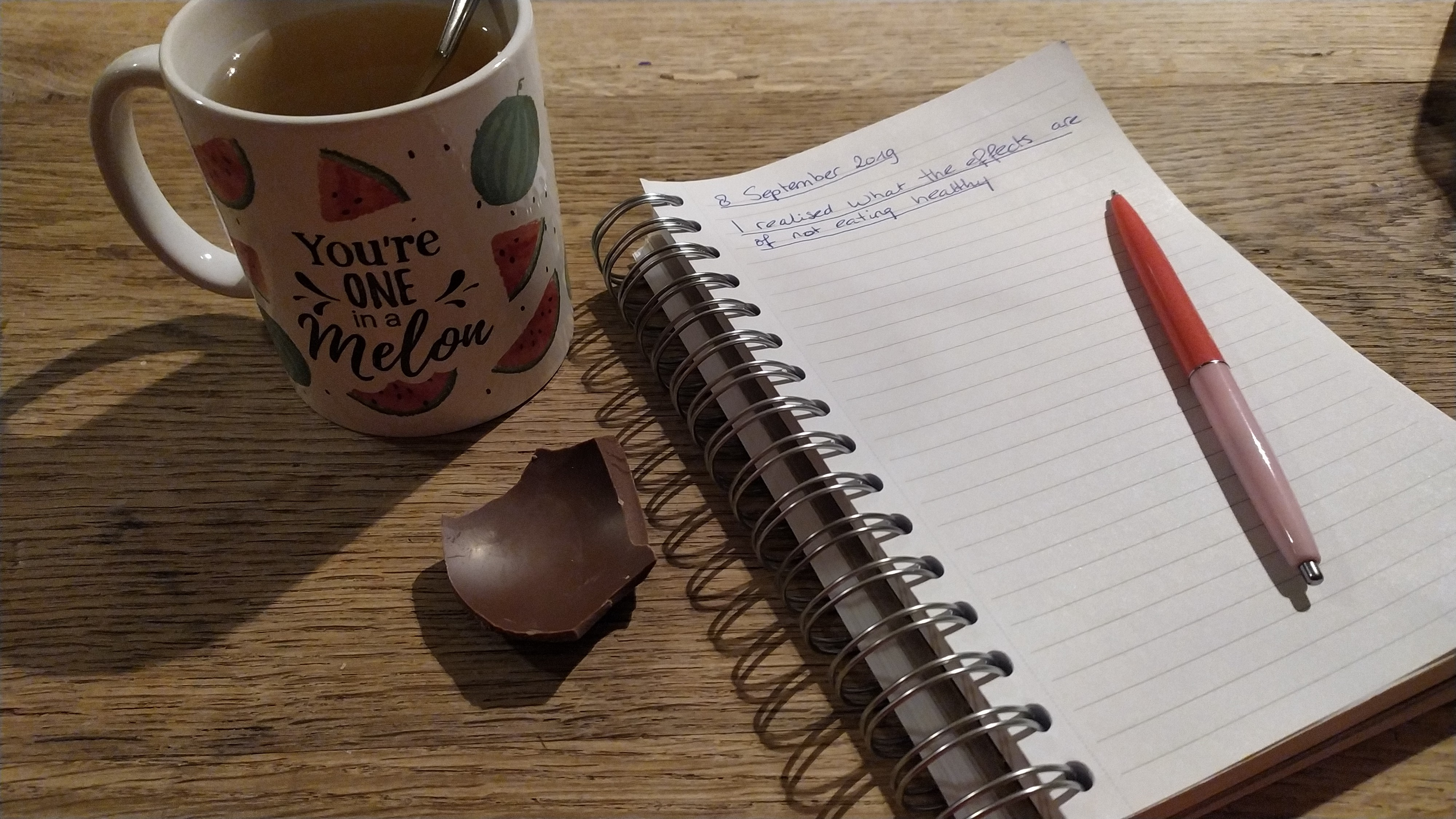 When I was drinking tea with honey and eating chocolate during writing. Not a healthy habit of mine.