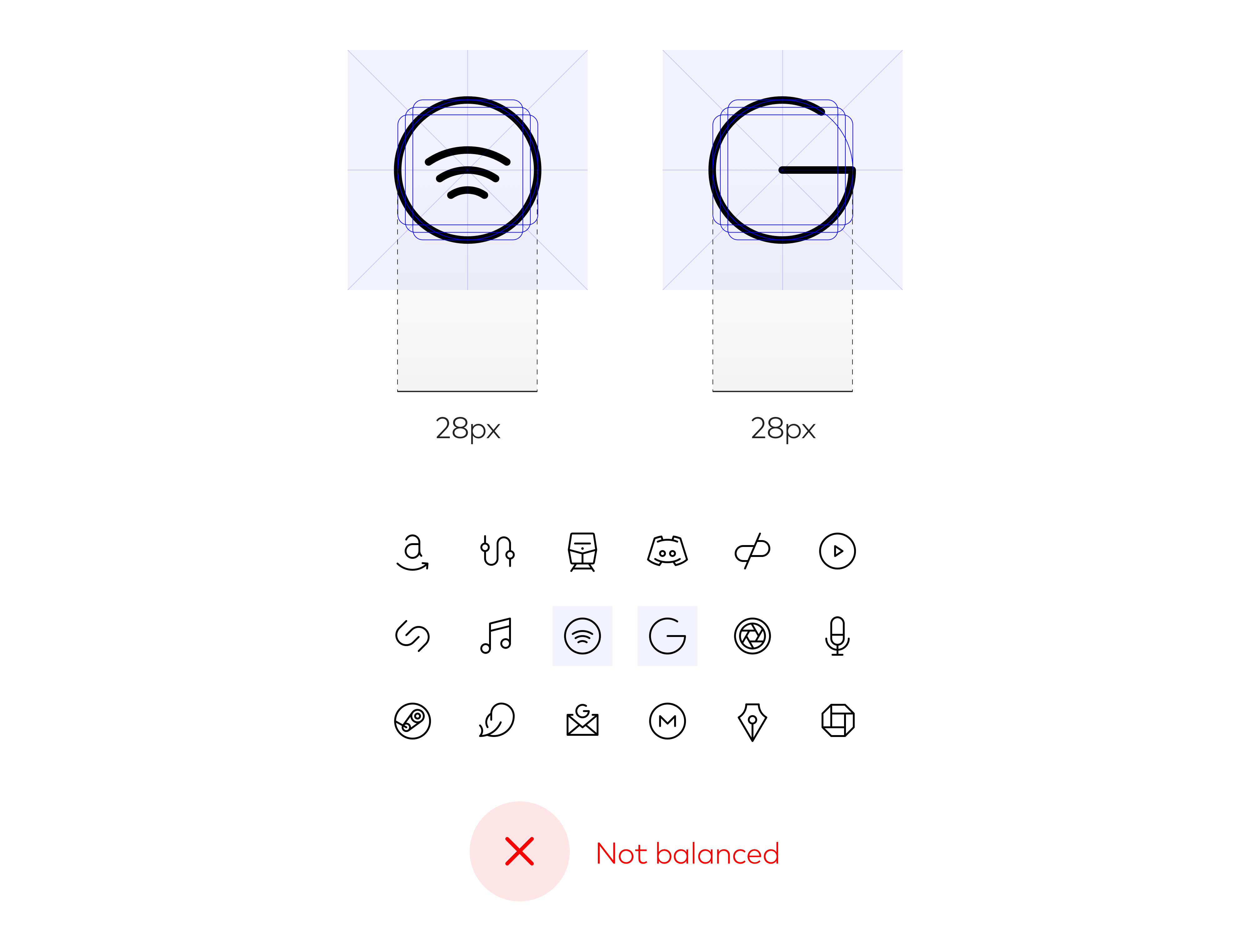 "Using the 28 x 28px circular keyshape for the Google ""G"" feels a bit too big"
