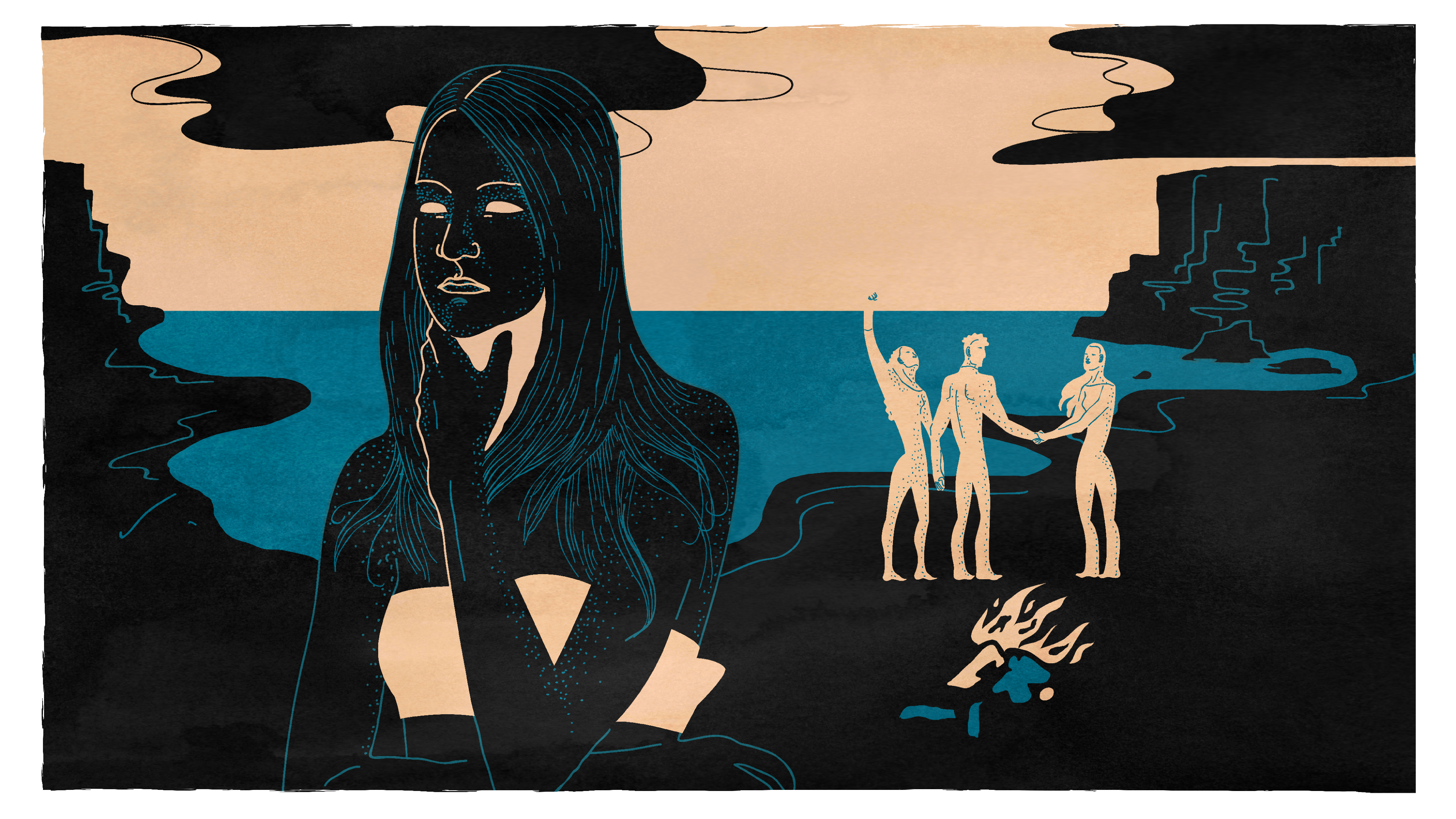 Simple three-color drawing of a woman deep in thought, with three strong figures in the background, near a fire on a beach