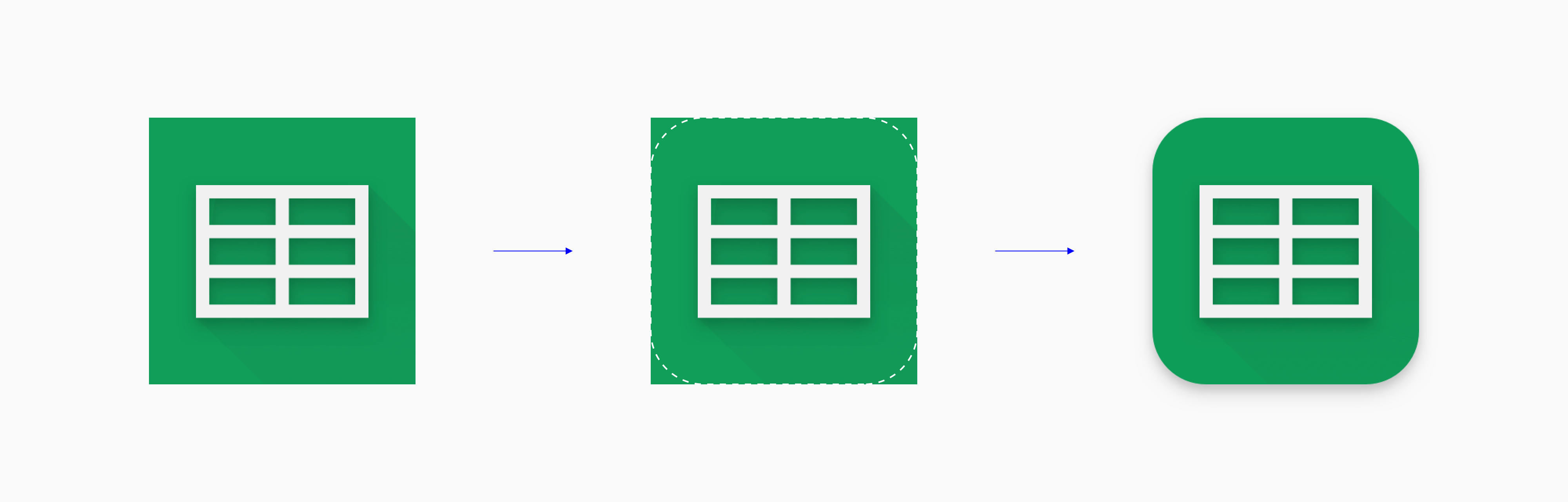 Play Store icons, like this Google Sheets icon, are masked in a rounded rectangle