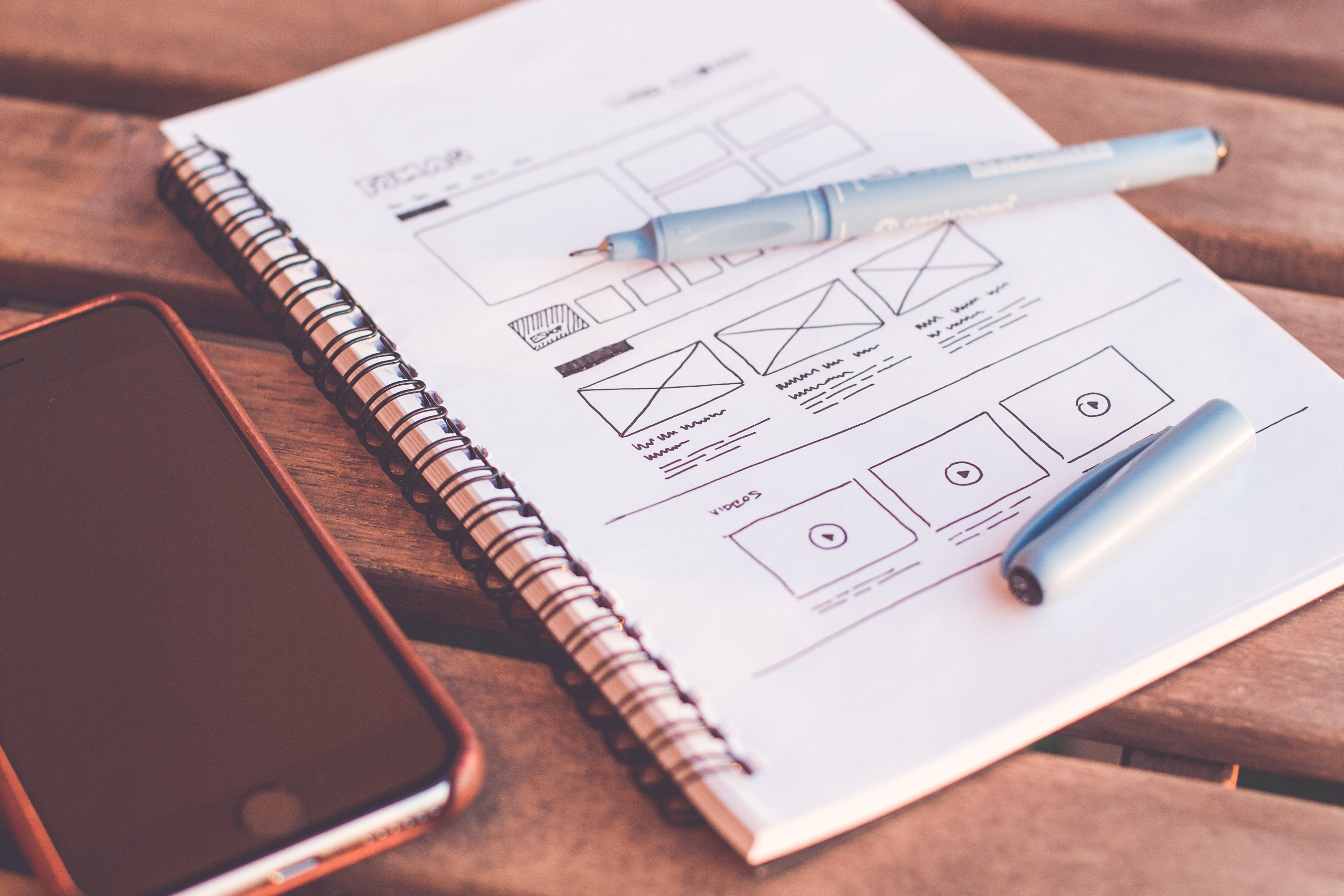 Notepad with UX design wireframes