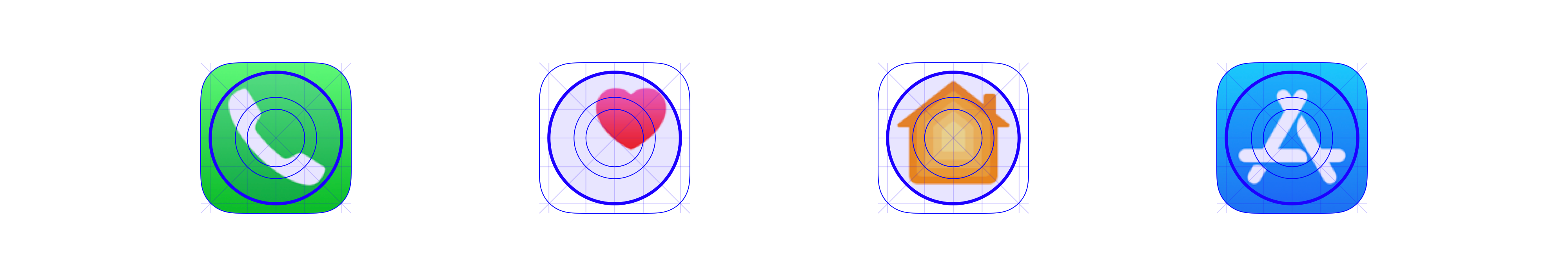 Non-circular iOS app icons don't strictly reference the grid