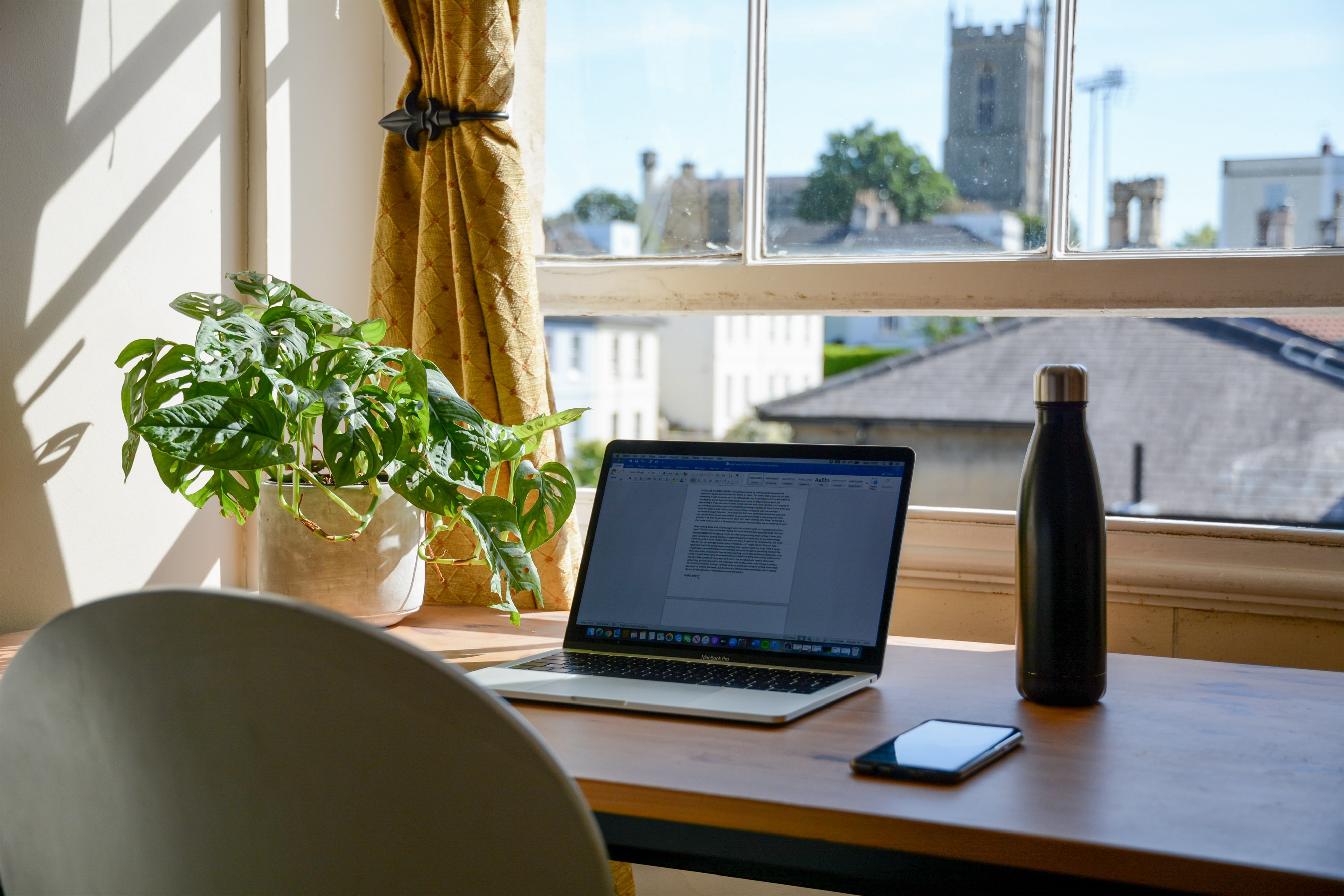 An image of a work from home setup