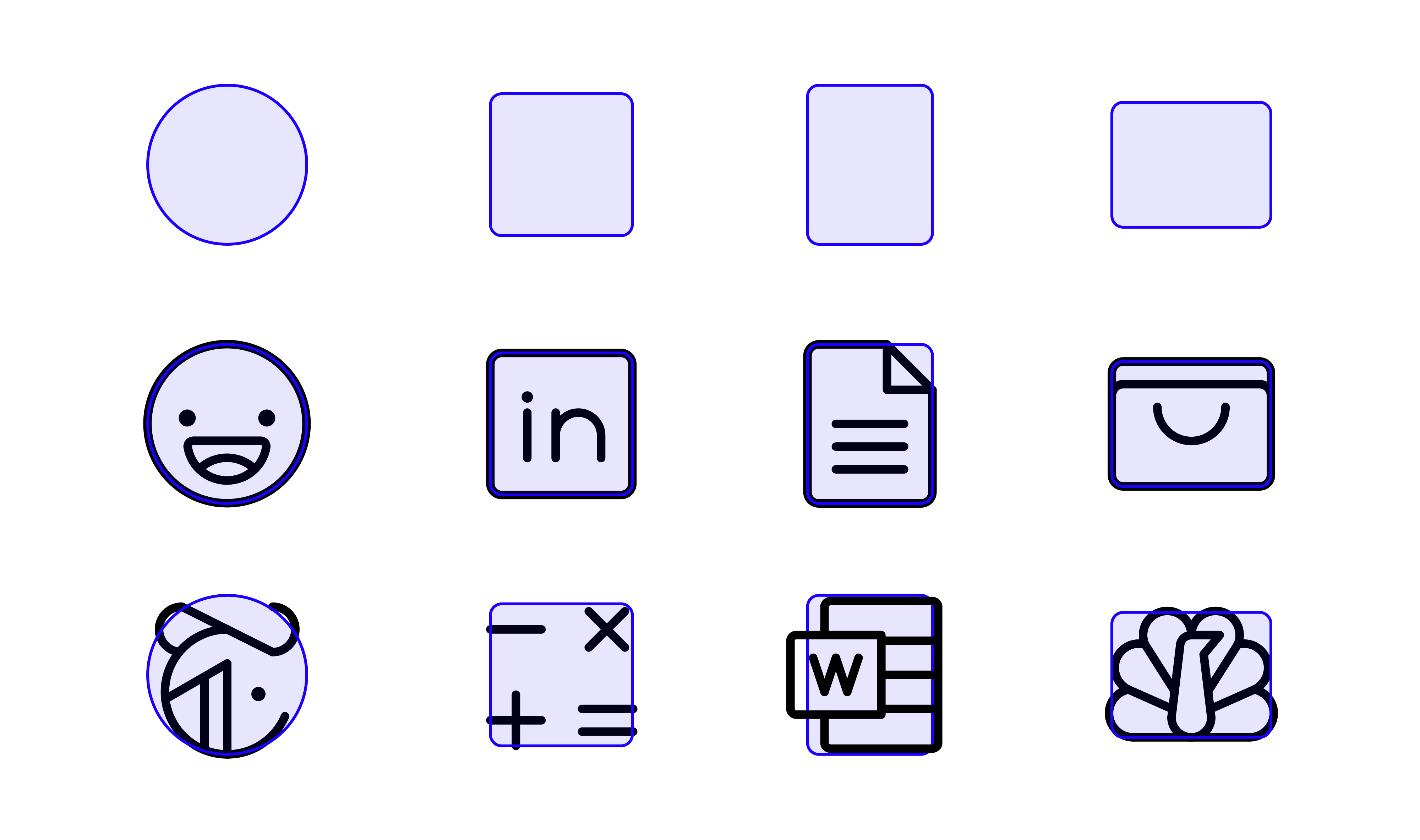 Phosphor keyshapes and example icons