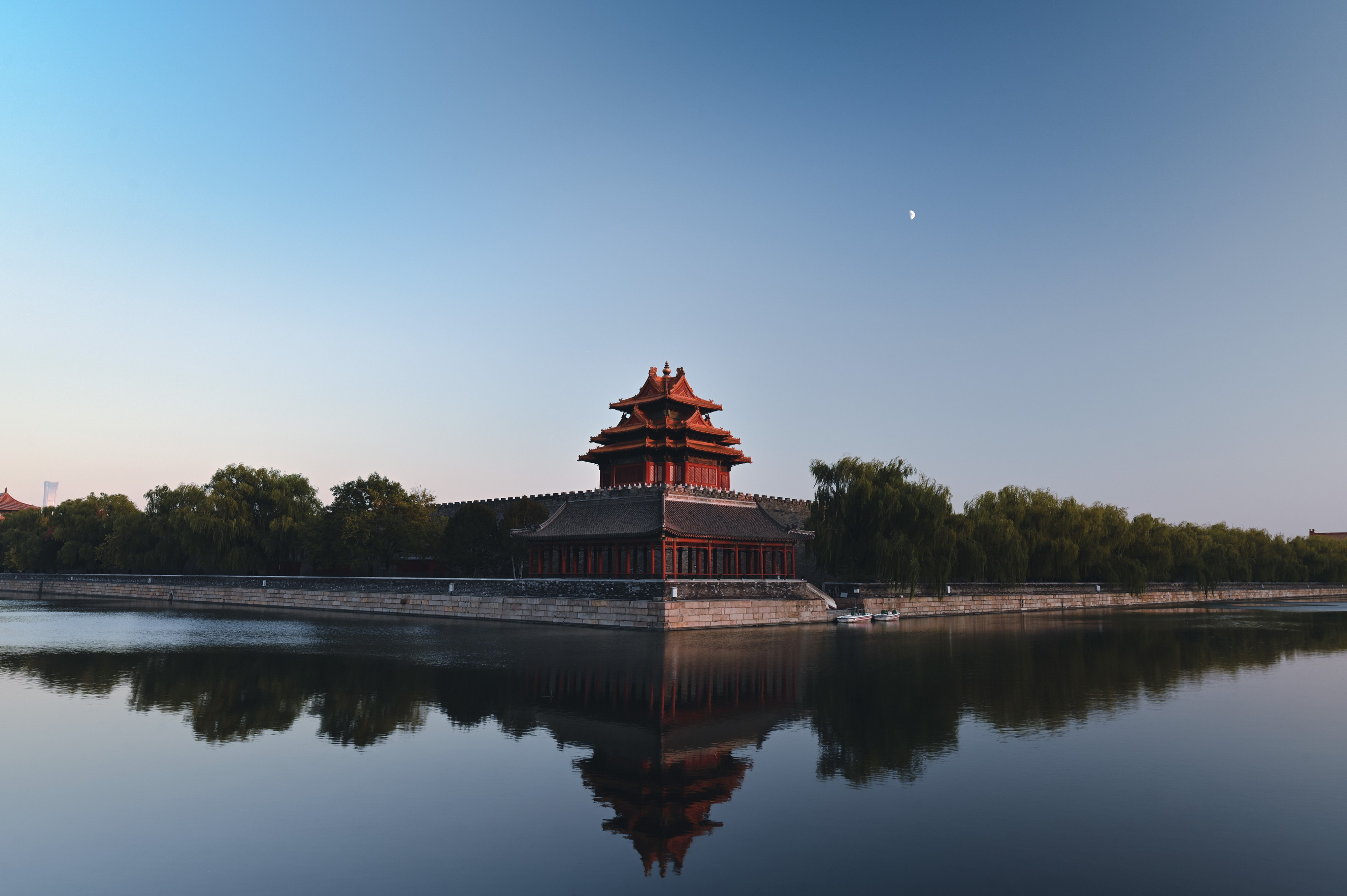 Forbidden City Tower in Beijing, China in the evening.