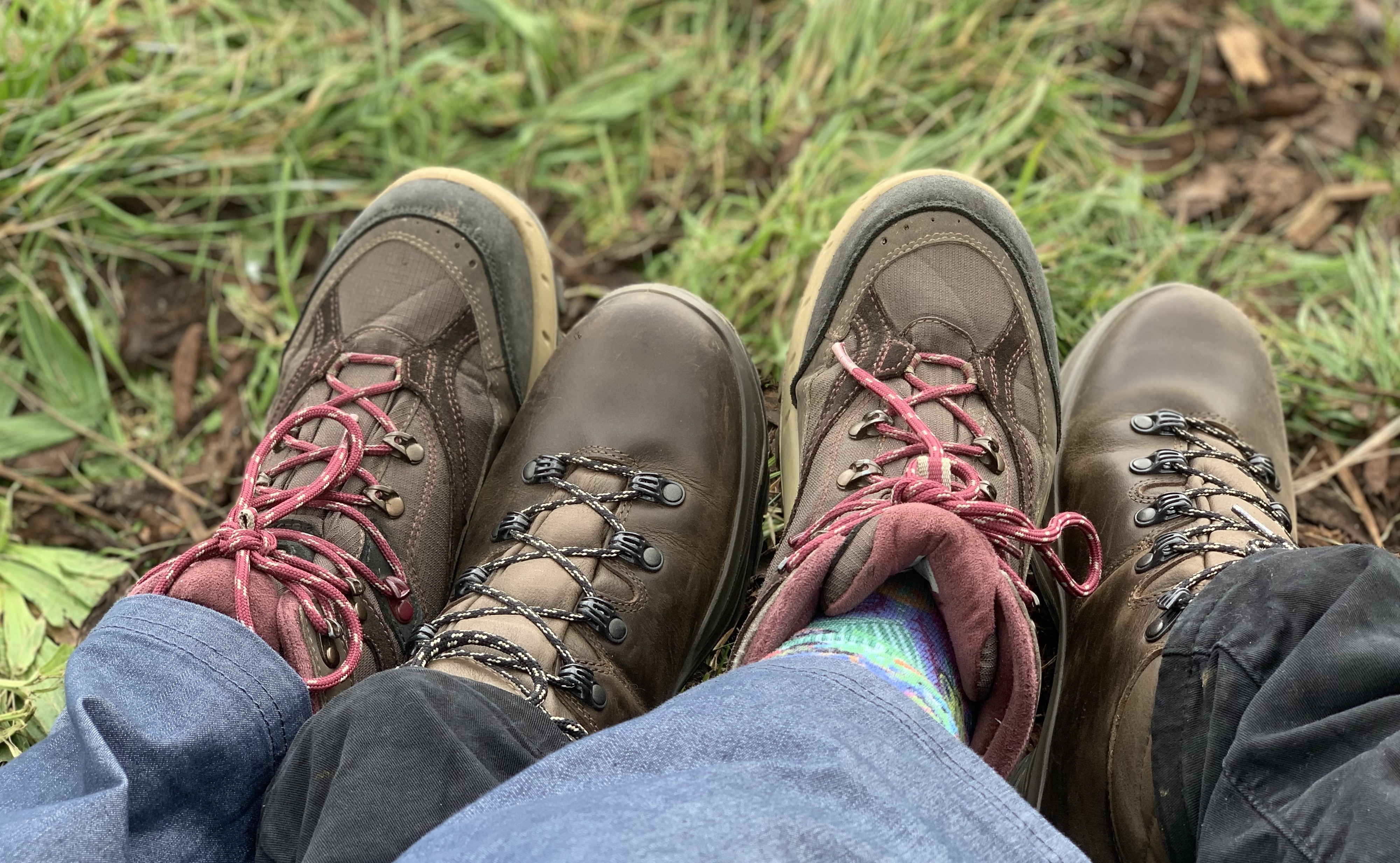 Two pairs of hiking shoes alternating between each other on green grass.