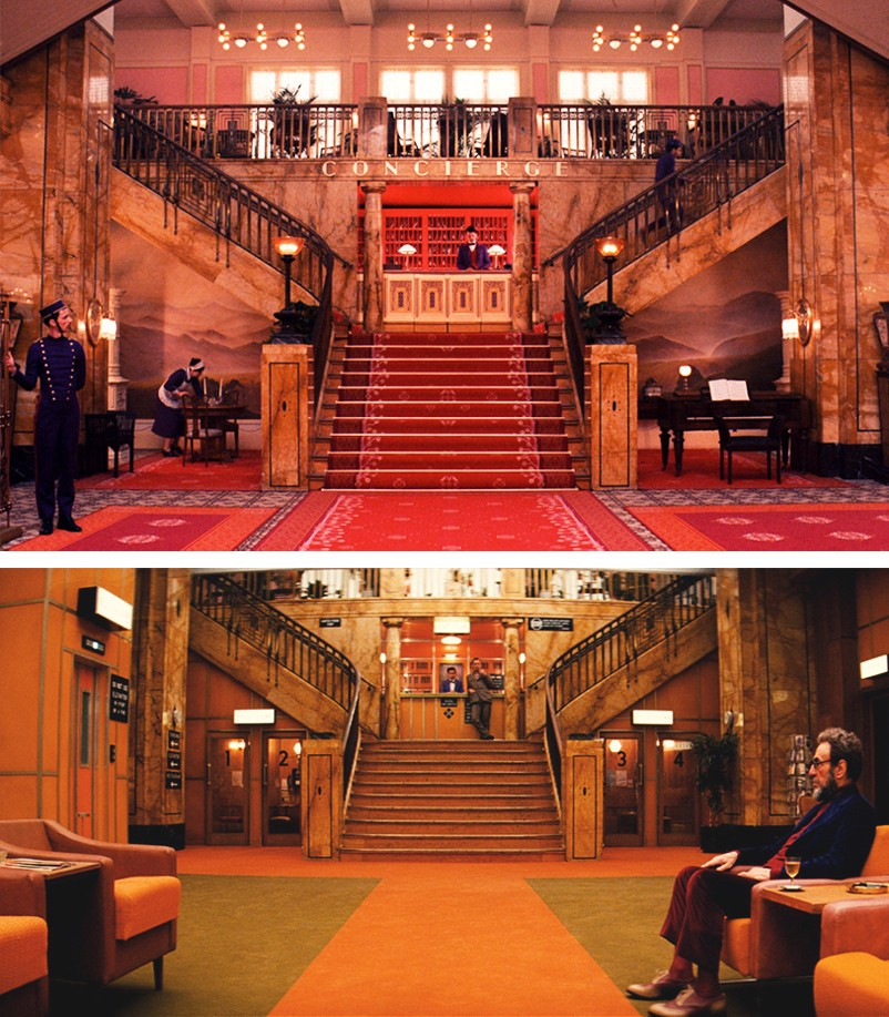 Wes Anderson interior design aesthetic Grand Budapest Hotel