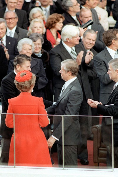 Carter congratulates Reagan during the latter's inauguration