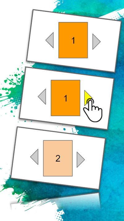 A simplified flipboard of images showing how a user would use arrows to navigate
